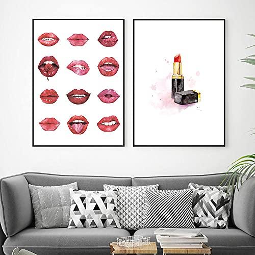 ZYQYQ Impresiones de mujeres africanas Póster de moda Perfume para niñas Tacones altos Lienzo Pintura Planta Mural Imágenes Cuadros Decoración para sala de estar 40x60cmx2 Sin marco