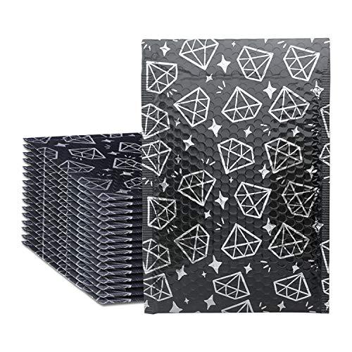 Yomuse 25 Stück Diamond Luftpolsterversandtaschen Luftpolstertaschen D/4 in Schwarz, 190 x 260 mm Bubble mailers