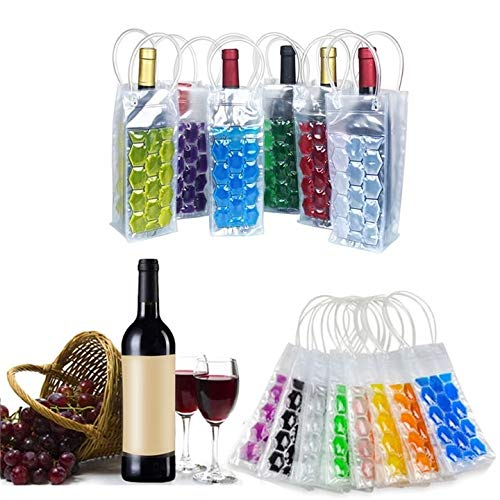 D88, 1 botella de vino de PVC para congelador, botella de champán, enfriador, cerveza, gel de enfriamiento, portador de hielo con asas portátil, licor y herramientas de hielo