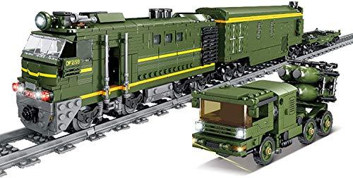 Juego de pistas de tren de calendario de Adviento DIY modelo de bloque de construcción locomotora de tren juguete con luz, 1174 + piezas compatibles con Lego Technic (Df-41 Icbm Trein)