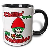 Simpatico gnomo kawaii e funghi velenosi Chillin divertente con la mia tazza bicolore design Gnomies, 11 oz, nero/bianco