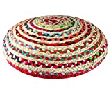 COTTON CRAFT - Jute & Cotton Multi Chindi Braid Floor Pillow - Handwoven from Multi-Color Vibrant Fabric Rags (24' Round)
