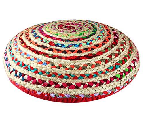 COTTON CRAFT Kaia Jute Chindhi 24 inch Round Decorative Floor Pillow, Multicolor