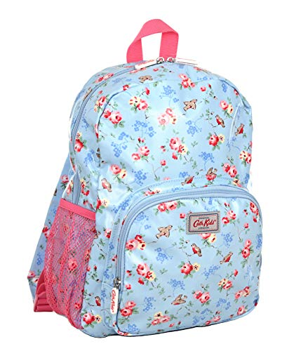 Cath Kidston Large Childrens Rucksack Backpack Birds and Flowers in Sky Blue Oilcloth