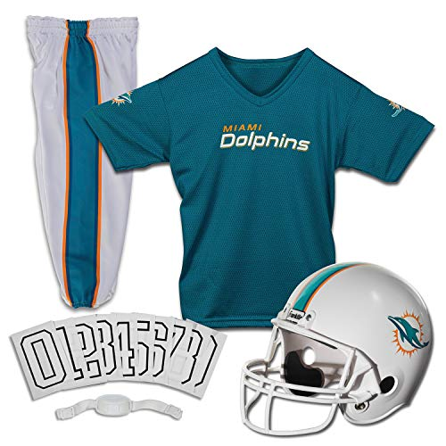 Franklin Sports Miami Dolphins Kids Football Uniform Set - NFL Youth Football Costume for Boys & Girls - Set Includes Helmet, Jersey & Pants - Small