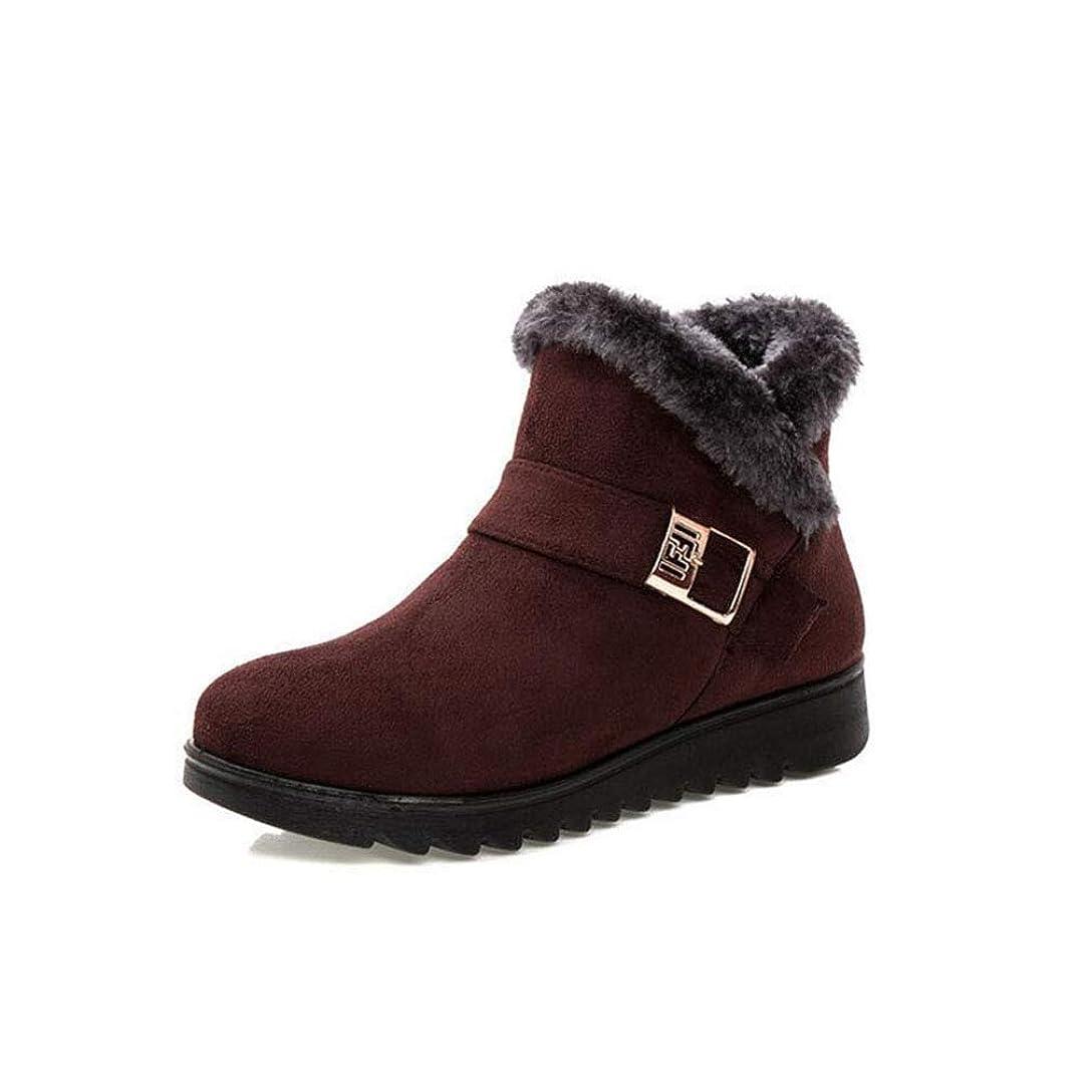 いまボランティア不可能な冬の女性のスノーブーツ、快適な足首の女性のブーツファッションショートブーツ暖かいコットンブーツ中年のスノーブーツ (色 : 褐色, サイズ : 35)