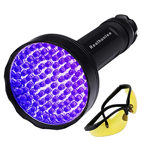 UV Black Light Flashlight, Super Bright 100 LED Pet Dog Cat Urine Detector Light Flashlight for Pet Urine Stains, Professional Blacklight Flashlight with UV Sunglasses for Scorpions Hunting