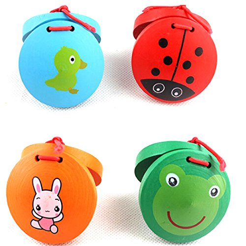 MAZIMARK--Nice Wooden Castanets Musical Percussion Wooden Instrument Kids Educational Toys