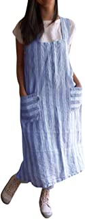 Sleeveless Soft Cotton Linen Apron Pinafore, Japanese Style Halter Apron with Two Side Pockets, Kitchen Cooking Clothes Gift for Women DIY Project, Crafting, Baking
