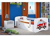 Cama infantil 160x80 Cama para Niños blanca con barrera de protección contra caídas. cajones extraíbles y base de listones para niñas y niños - 80 x 160 cm bomberos