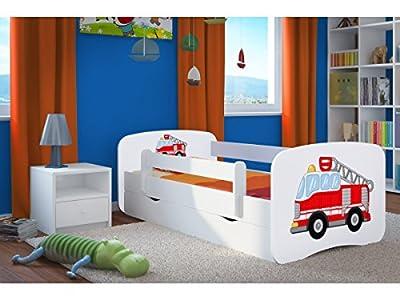 Bjird Cama Infantil 160x80 Cama para Niños Blanca con Barrera de protección contra caídas. cajones extraíbles y Base de Listones para niñas y niños - 80 x 160 cm Bomberos