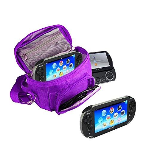 Orzly - Funda para Sony PSP (GO VITA 1000 2000 3000) - Funda para Consola, Juegos y Accessarios Bolso Incluye: Correa para el Hombro Ajustable + Llevan la Manija + Fijación a un Cinturón - PÚRPURA