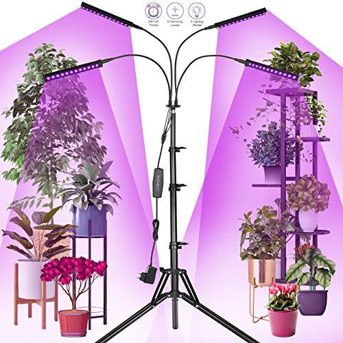 Railee Pflanzenlampe, Pflanzenwachstumslampe, 192 LED 96W 4 Kopf 360 ° Wachstumslampe Gartenbeleuchtung mit 160 cm Stativ / 4 Helligkeitsmodi / 10 dimmbare Stufen