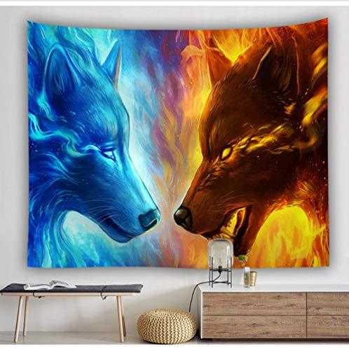 wrhua Tapiz de Lobo Azul Fuego Tapiz de decoración de Dormitorio Tapiz de Pared Tapiz Decoración Familiar Tapiz 200 × 150Cm