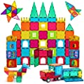 AFUNX 130 PCS Magnetic Tiles Building Blocks 3D Clear Magnetic Blocks Construction Playboards, Inspiration Building Tiles Creativity Beyond Imagination, Educational Magnet Toy Set for Kids with 2 Cars from AFUNX