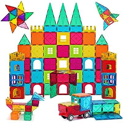 AFUNX Magnet Building Tiles Clear 130 PCS Magnetic 3D Building Blocks Construction Playboards, Creativity Beyond Imagination, Educational STEM Toys for Kids