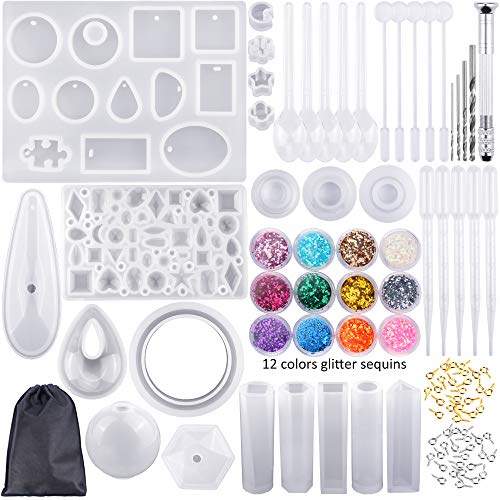 EuTengHao 225Pcs DIY Jewelry Silicone Casting Molds Tools Set Contains 9 Silicone Resin Jewelry Molds,2 Necklace Pendant Resin Molds,1 Earring Silicone Mold,Diamonds Mold,Bear Claw Mold,Sphere Mold