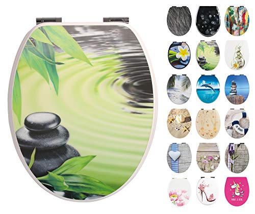 Calmwaters® WC Sitz Motiv 3D Hologramm Wellnessoase mit doppelter Absenkautomatik, Fast-Fix-Befestigung aus Metall, universale O-Form, stabiler Holzkern Toilettendeckel, Toilettensitz oval, 26LP3467