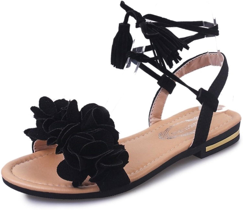 T-JULY Womens Ladies Fashion Bohemia Flower Bowknot Flat Walking Sandals Slip on Comfy Dressy Roman Slippers