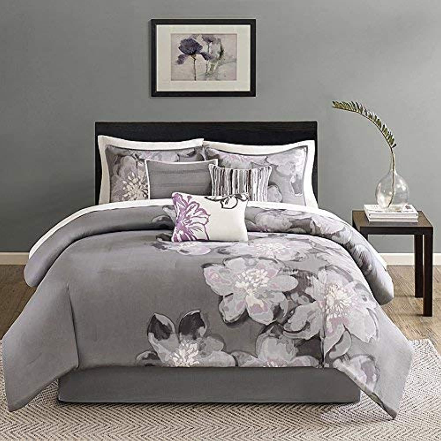 Madison Park Serena Cal King Size Bed Comforter Set Bed in A Bag - Grey, Floral – 7 Pieces Bedding Sets – Sateen Cotton Bedroom Comforters