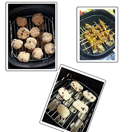 Air Fryer Double Layer Rack, Air Fryer Accessories Multi-purpose Rack Fits Most 4.2QT or Above(8in,4pins)