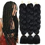 Jumbo Braiding Hair for Women Crochet Twist Braids Black Synthetic Hair Extensions Kanekalon Fibre Jumbo Braids Hair 24 Inches 100g Pieces FU SHEN (Black)