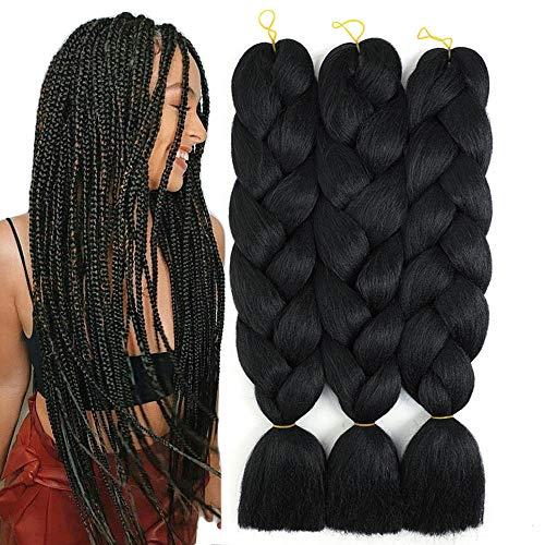 Jumbo Braiding Hair for Women Crochet Twist Braids Black Synthetic Hair Extensions Fibre Jumbo Braids Hair 24 Inches 100g Pieces FU SHEN (Black)…