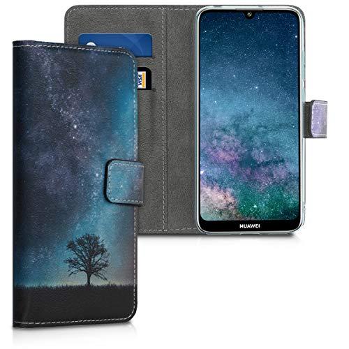 Huawei Y6 (2019) Hülle - Kunstleder Wallet Case für Huawei Y6 (2019) mit Kartenfächern und Stand - Galaxie Baum Wiese Design Blau Grau Schwarz