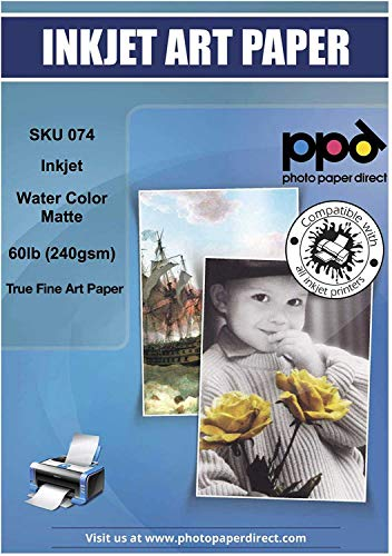 PPD Inkjet Watercolor Matte Giclee Fine Art Archival Printer Paper 8.5x11' 64lb 240gsm x 25 Sheets (PPD074-25)