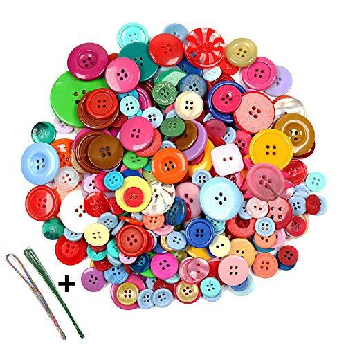 Anyasen 660 piezas Botones de colores Resin Botones manualidades Botones de resina Botones Redondo 2Holes y 4Holes con 10 piezas de alambre de hierro artesanal para Coser Arte DIY