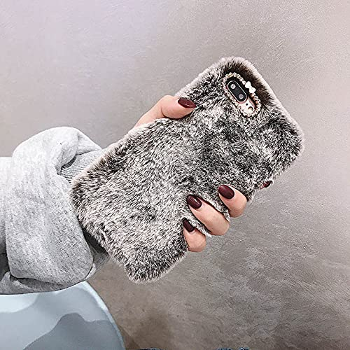 para Samsung S21 Ultra S20 FE S10 Lite S9 S8 S7 S6 S5 S4 S3 A50 A70 A51 A71 A21S Funda de teléfono Suave de Felpa con Colgante de Amor de Lujo, marrón Oscuro, para S6 Edge