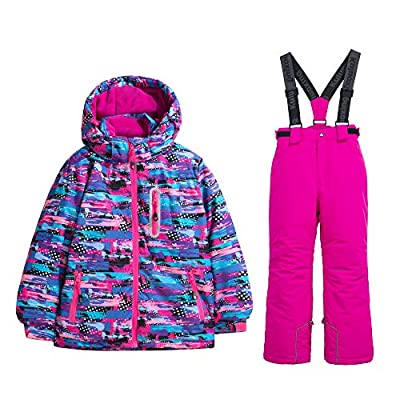 Girl's Ski Jacket Pants Snow Suit Windproof Waterproof (Multicolor, 8)