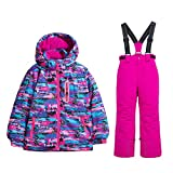 WOWULOVELY Girls Ski Jacket + Pants Snow Insulated Suit Windproof & Waterproof (10, Multicolor)