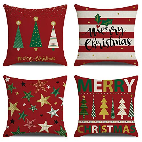 Anbaituor Christmas Cushion Cover - 4 Pack Cotton Linen...