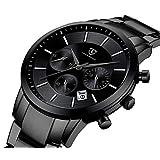 腕時計 メンズ おしゃれ クロノグラフ ビジネス カジュアル 防水 多機能 アナログ腕時計 ステンレス鋼 日付表示 ブラック