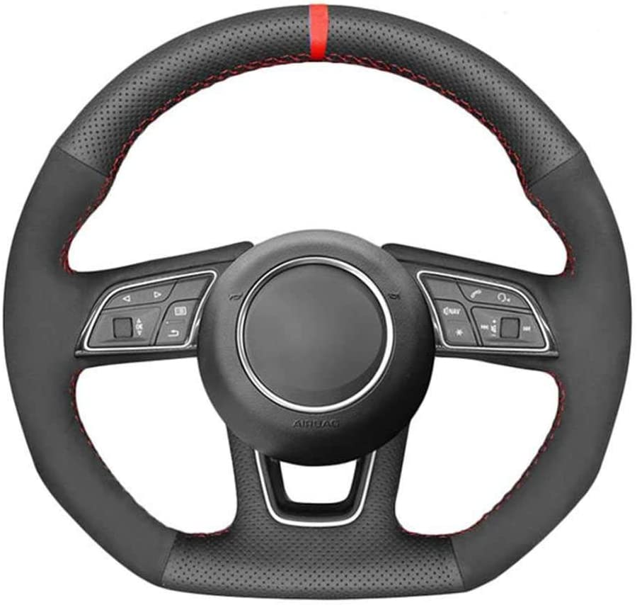 SAXTZDS Car Leather Suede Red Mark Fit Steering Wheel for Directly managed store Cover Portland Mall