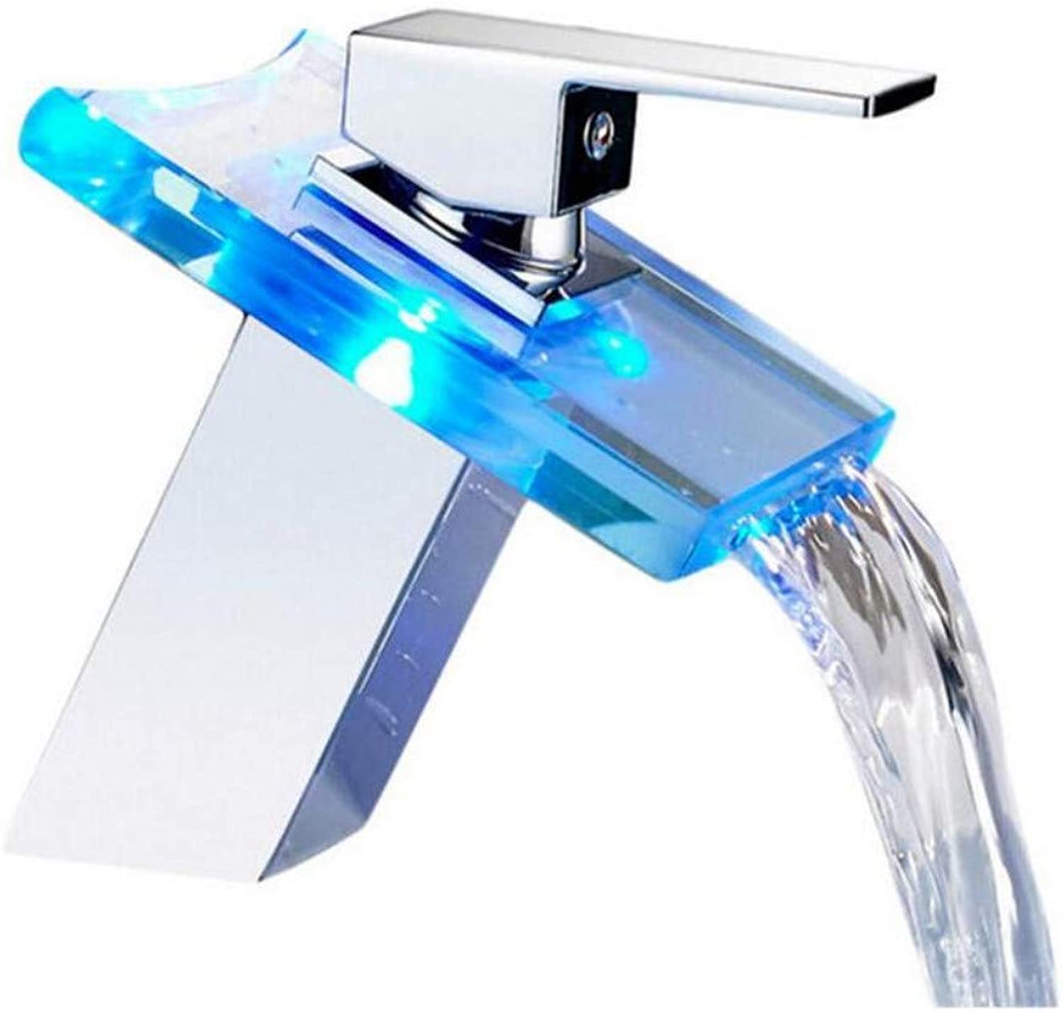 Modern Double Basin Sink Hot and Cold Water Faucet Bathroom Basin Faucet Led Tap Water Power Basin Mixer Faucet