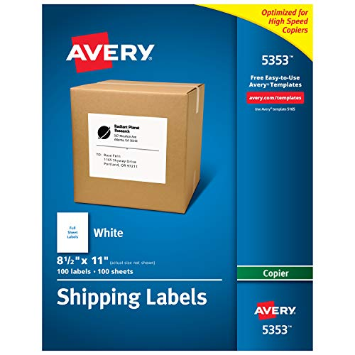 Avery Shipping Labels for Copiers, 8-1/2