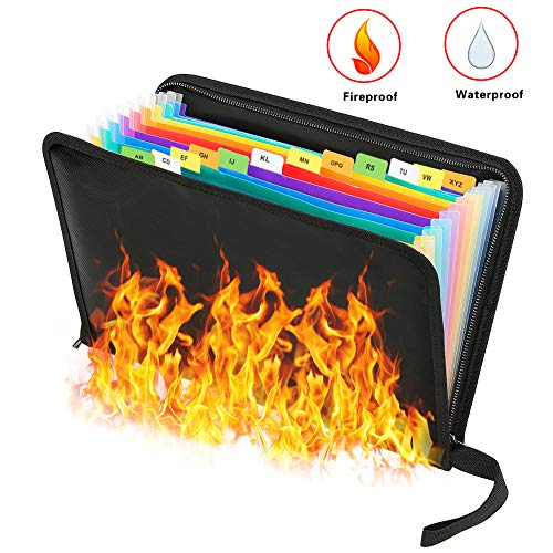 Feuerfeste Dokumententasche - ABClife Expanding File Folder Tragbare feuerfeste Accordion Document Organizer Datei A4 mit feuerfesten Reißverschluss für Vertrag Pässe,Wertsachen,Batterien (13Taschen)