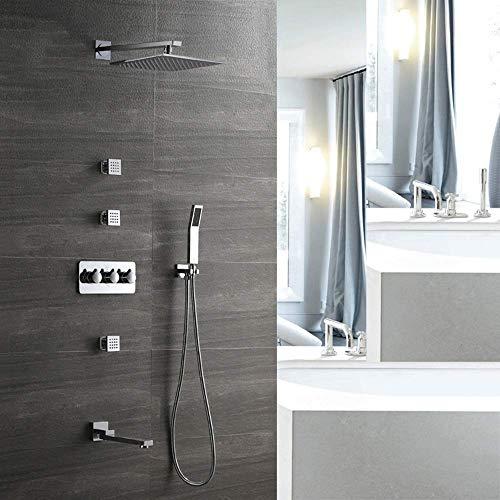 BINGFANG-W Ducha Conjunto de ducha Set All-cobre-montado en la pared grifo de la ducha oculto cuatro funciones Pre-embebido Box 250 superior cuadrada spray de suministro de agua Ducha