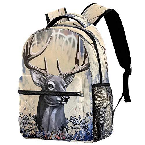 Mochila escolar de ciervo, mochila para libros, informal, para viajes, estampado 6 (Multicolor) - bbackpacks004