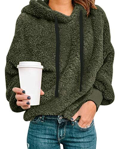 Style Dome Damen Teddy-Fleece Hoodie Plüsch Kapuzenpollover Winter Warm Weich Hoodie Rollkragenpullover Stehkragen Langarm Oversize Sweatshirt 1-Armeegrün 2XL