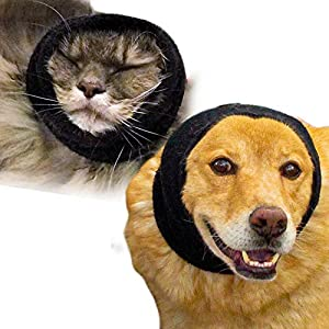 Happy Hoodie for Dogs and Cats – The Original Grooming and Force Drying Miracle Tool for Anxiety Relief and Calming Dogs, Black 2 Pack (1 Large, 1 Small)
