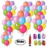 cotigo 200 Globos de Fiesta de Colores Variado para Bodas, Fiestas de Cumpleaños - Globos de Latex de 25 cm + Bomba (Color Aleatorio)+ 6 Cinta