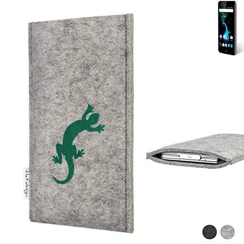 flat.design Handy Hülle Faro für Allview P6 Pro Made in Germany Handytasche Filz Tasche Case Gecko grün fair