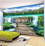 Equipo de vida Mural Estilo chino Cascadas Paisaje Puente de madera Foto Mural Papel tapiz Sala de estar TV Sofá Telón de fondo Revestimiento de paredes Decoración para el hogar Mural 450x300cm Mur