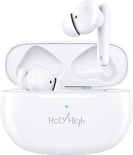 HolyHigh Cuffie Bluetooth, Auricolari Bluetooth5.0 Bassi Potenziati Cancellazione Attiva del Rumore con 4 Microfoni Integr...