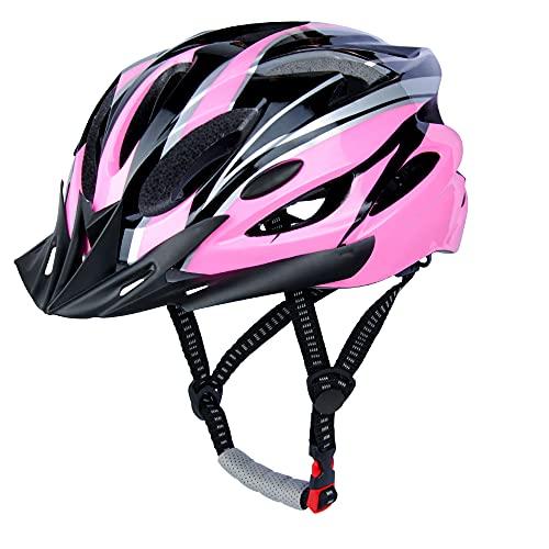 Casco da Bicicletta, LUCKATCH Caschi Bici, Casco Ciclismo con Visiera Staccabile e Fodera Per Uomini e Donne Adulti (56-60 CM) (Rosa)