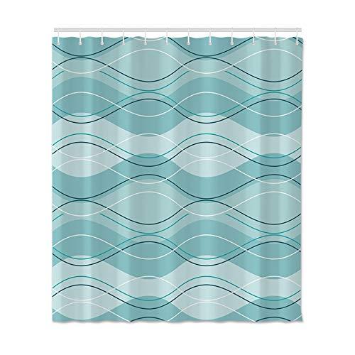 Rideau de douche, rideau imperméable, rideau de douche en polyester, décoration de salle de bain avec crochet salle de douche, rideau de douche imperméable et résistant à la moisissure A17 90x180cm