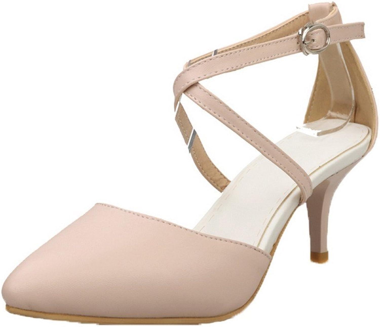 AmoonyFashion Women's Buckle Kitten-Heels PU Solid Sandals